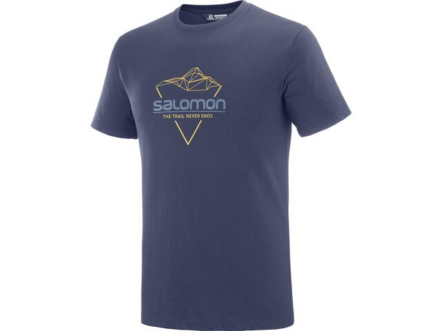 Salomon Blend Logo Maglietta A Maniche Corte Uomo, night sky/arrowwood/dark denim